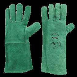 Guanti in pelle crosta con manicotto, interno felpato in cotone al 100%, lunghezza totale cm.33.