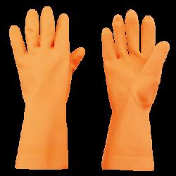 Guanti in puro lattice di gomma arancione. Lunghezza media cm.31,5.