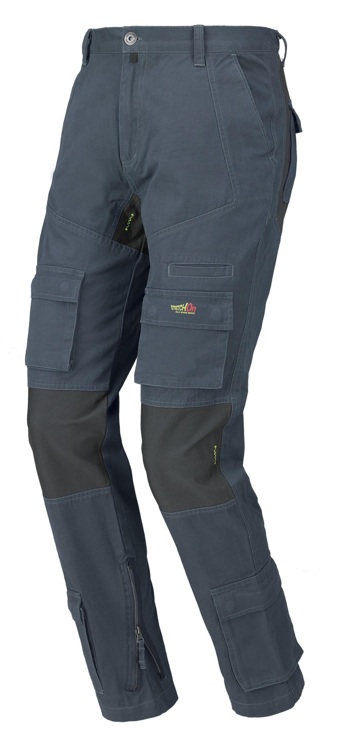 Pantalone da lavoro ISSA LINE Stretch On 8738 BLU Multitasche estivi Tasche Laterali 100% Cotone