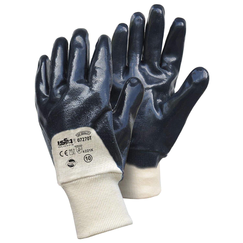 12 Paia - Guanti NBR qualità TOP su supporto di tela/cotone con polsino a maglia - Dorso AREATO