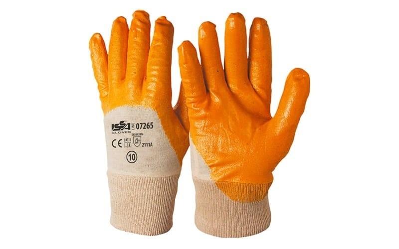 12 Paia - Guanti NBR in maglia con polsino Giallo - Dorso AREATO